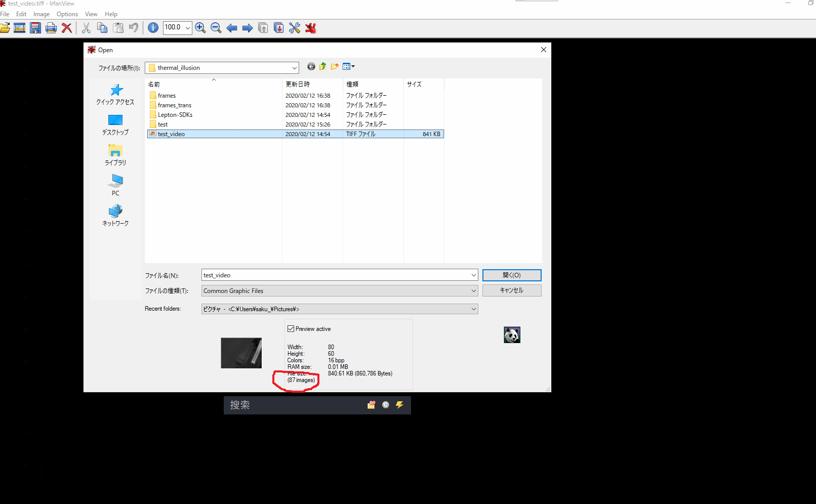 use irfan_view to check number of frames of Tiff file